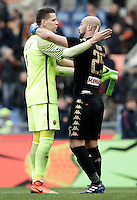 Roma's goalkeeper Wojciech Szczesny, left, greets Napoli's goalkeeper Pepe Reina at the end of the Italian Serie A football match between Roma and Napoli at Rome's Olympic stadium, 4 March 2017. Napoli won 2-1.<br /> UPDATE IMAGES PRESS/Isabella Bonotto