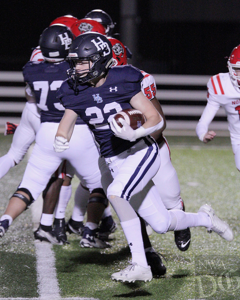 Har-Ber Wildcats Junior Parker Jones (23) runs the ball during the first round play-off game against the Fort Smith Northside Grizzlies Friday, November 13, 2020, at Wildcat Stadium, Springdale, Arkansas (Special to NWA Democrat-Gazette/Brent Soule)