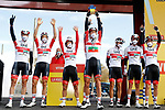 UAE Team Emirates at sign on before the start of Stage 7 of the Vuelta Espana 2020 running 159.7km from Vitoria-Gasteiz to Villanueva de Valdegovia, Spain. 27th October 2020.  <br /> Picture: Luis Angel Gomez/PhotoSportGomez | Cyclefile<br /> <br /> All photos usage must carry mandatory copyright credit (© Cyclefile | Luis Angel Gomez/PhotoSportGomez)