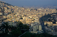 High rise apartment buildings of the Posillipo District at sunset, Naples, Italy.