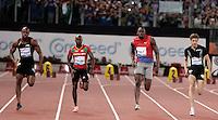 Il giamaicano Usain Bolt, secondo da destra, accanto al francese Cristophe Lemaitre, destra, al nevisiano Kim Collins, secondo da destra, e al connazionale Asafa Powell, vince i 100 metri uomini durante il Golden Gala di atletica leggera allo stadio Olimpico di Roma, 31 maggio 2012..Jamaica's Usain Bolt, second from right, runs past France's Cristophe Lemaitre, right, Saint Kitts and Nevis's Kim Collins, second from left, and Asafa Powell, also of Jamaica, to win the men's 100 meters during the IAAF athletic Golden Gala meeting at Rome's Olympic stadium, 31 may 2012..UPDATE IMAGES PRESS/Riccardo De Luca