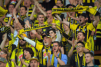 Phoenix fans celebrate during the A-League football match between Wellington Phoenix and Brisbane Roar at Westpac Stadium in Wellington, New Zealand on Saturday, 23 November 2019. Photo: Dave Lintott / lintottphoto.co.nz