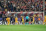 Atletico de Madrid's players and FC Barcelona players during Champions League 2015/2016 Quarter-Finals 2nd leg match. April 13, 2016. (ALTERPHOTOS/BorjaB.Hojas) and FC Barcelona XXX during Champions League 2015/2016 Quarter-Finals 2nd leg match. April 13, 2016. (ALTERPHOTOS/BorjaB.Hojas)