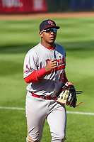 Peoria Chiefs outfielder Leandro Cedeno (35) jogs to the dugout between innings during a Midwest League game against the Cedar Rapids Kernels on May 26, 2019 at Perfect Game Field in Cedar Rapids, Iowa. Cedar Rapids defeated Peoria 14-1. (Brad Krause/Four Seam Images)