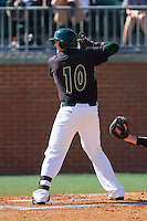 Zach Jarrett (10) of the Charlotte 49ers at bat against the Canisius Golden Griffins at Hayes Stadium on February 23, 2014 in Charlotte, North Carolina.  The Golden Griffins defeated the 49ers 10-1.  (Brian Westerholt/Four Seam Images)
