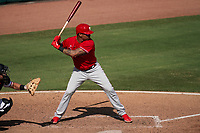 Philadelphia Phillies Christian Bethancourt (44) bats during a Major League Spring Training game against the Baltimore Orioles on March 12, 2021 at the Ed Smith Stadium in Sarasota, Florida.  (Mike Janes/Four Seam Images)