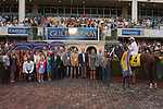 March 29, 2014: Jockey Javier Castellano and Constitution along with connections celebrate in the winners circle after winning the Florida Derby(G1). Castellano had 5 wins on the card. Gulfstream Park in Hallandale Beach (FL). Arron Haggart/ESW/CSM