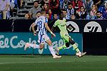 CD Leganes's Rodrigo Tarin and FC Barcelona's Ousmane Dembele during La Liga match between CD Leganes and FC Barcelona at Butarque Stadium in Madrid, Spain. September 26, 2018. (ALTERPHOTOS/A. Perez Meca)