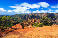 A seldom seen view of the vista from the end of the Kohua Ridge Trail during a hike in Waimea Canyon, Kaua'i.