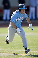 Tim Fedroff (16) of the North Carolina Tar Heels hustles down the first base line versus the St. John's Red Storm at the 2008 Coca-Cola Classic at the Winthrop Ballpark in Rock Hill, SC, Sunday, March 2, 2008.
