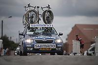Shimano neutral support car over the cobbles<br /> <br /> 101st Kampioenschap van Vlaanderen 2016 (UCI 1.1)<br /> Koolskamp › Koolskamp (192.4km)