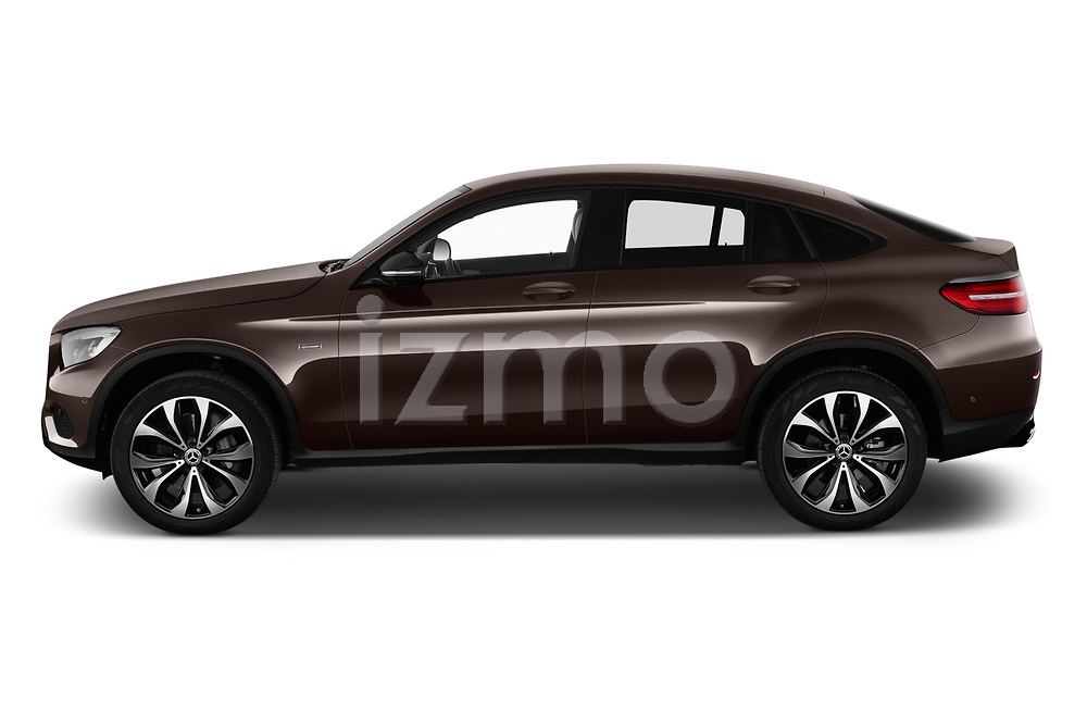 Car driver side profile view of a 2018 Mercedes Benz GLC Coupe 350 e 5 Door SUV
