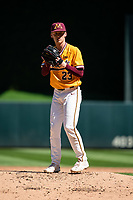 Minnesota Golden Gophers pitcher Max Meyer (23) during a game against the Oklahoma Sooners on April 20, 2019 at Target Field in Minneapolis, Minnesota. (Brace Hemmelgarn/Four Seam Images)