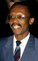 Montreal (Qc) CANADA - Circa 1990 file Photo -<br /> Jean-Bertrand Aristide, President , HAITI during an official visit in Montreal whre he meet with Mayor Jean Dore