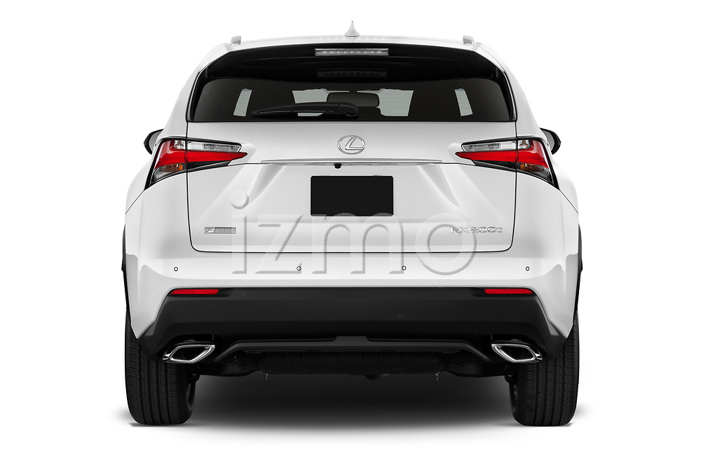 Straight rear view of 2017 Lexus NX 200t-F-Sport 5 Door SUV Rear View  stock images