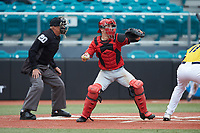 San Diego State Aztecs catcher Wyatt Hendrie (3) on defense against the UNCG Spartans at Springs Brooks Stadium on February 16, 2020 in Conway, South Carolina. The Spartans defeated the Aztecs 11-4.  (Brian Westerholt/Four Seam Images)