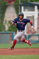 Portland Sea Dogs Jhon Nunez (2) running the bases during an Eastern League game against the Erie SeaWolves on June 17, 2019 at UPMC Park in Erie, Pennsylvania.  Portland defeated Erie 6-3.  (Mike Janes/Four Seam Images)