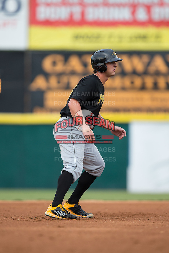 Jerrick Suiter (25) of the West Virginia Power takes his lead off of second base against the Hickory Crawdads at L.P. Frans Stadium on August 15, 2015 in Hickory, North Carolina.  The Power defeated the Crawdads 9-0.  (Brian Westerholt/Four Seam Images)