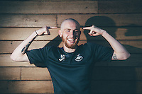 Thursday  13 October 2014<br /> Pictured: Oliver McBurnie of Swansea City Shows off his freshly shaved head. <br /> Re: Swansea Striker Oli Mcburnie's friend Joshua Hutchinson has recently suffered from cancer and received support from Macmillan. Oli, together with friends have shaved their heads in the hope to raise as much money as possible for the charity Oli's hair was shaved by Swans winger Stephen Kingsley at the Fairwood training ground, Swansea, Wales, UK