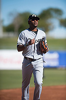 Glendale Desert Dogs center fielder Luis Alexander Basabe (15), of the Chicago White Sox organization, jogs off the field between innings of an Arizona Fall League game against the Surprise Saguaros at Surprise Stadium on November 13, 2018 in Surprise, Arizona. Surprise defeated Glendale 9-2. (Zachary Lucy/Four Seam Images)