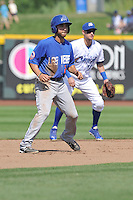 Anthony Serratelli #2 of the Las Vegas 51s takes his  lead off of second base against the Omaha Storm Chasers at Werner Park on August 17, 2014 in Omaha, Nebraska. The Storm Chasers  won 4-0.   (Dennis Hubbard/Four Seam Images)