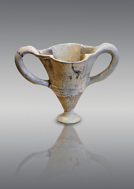 Hittite terra cotta twa handles fluted vase. Hittite Empire, Alaca Hoyuk, 1450 - 1200 BC. Alaca Hoyuk. Çorum Archaeological Museum, Corum, Turkey