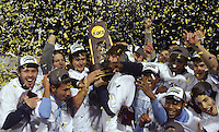North Carolina Tar Heels celebrate their win in the championship game of the NCAA 2011 Men's College Cup in Hoover, AL on Sunday, December 11, 2011.