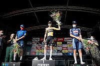 race winner Pascal Eenkhoorn (NED/Jumbo-Visma) post-race sharing the podium with runner-up Yves Lampaert (BEL/Deceuninck - QuickStep) & 3rd finisher Jonas Rickaert (BEL/Alpecin Fenix)<br /> <br /> Heylen Vastgoed Heistse Pijl 2021 (BEL)<br /> One day race from Vosselaar to Heist-op-den-Berg (BEL/193km)<br /> <br /> ©kramon