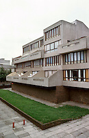 London:  Thamesmead, 1972--GLC Architects Dept.  Low rise flats, Binsey Walk, off Yarnton Way.  Similar to Safdie's in Baltimore.  Photo '90.