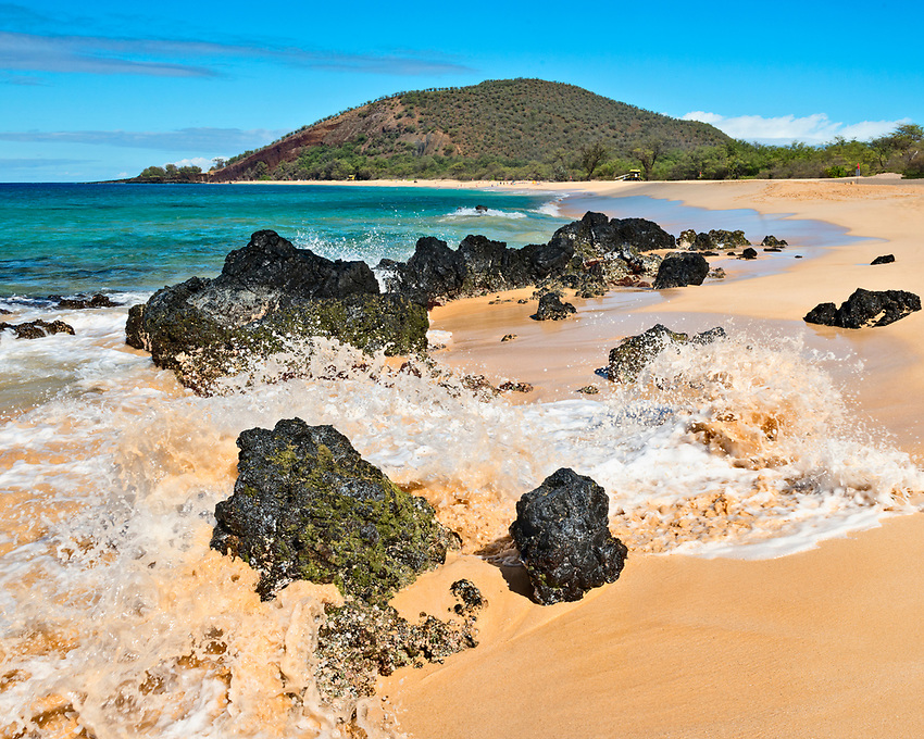 A view of Big Beach (also known as Makena Beach or Oneloa Beach), on the southwest coast of Maui, from the south end of the beach.