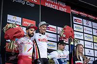 podium with:<br /> <br /> 1st place: Bryan Coquard (FRA/Vital Concept - B&B Hotels)<br /> 2nd palce: Nacer Bouhanni (FRA/Cofidis)<br /> 3th place: Alfdan De Decker (BEL/Wanty Groupe Gobert)<br /> <br /> <br /> GP Marcel Kint 2019 (BEL)<br /> One Day Race: Kortrijk – Zwevegem 188.10km. (UCI 1.1)<br /> Bingoal Cycling Cup 2019