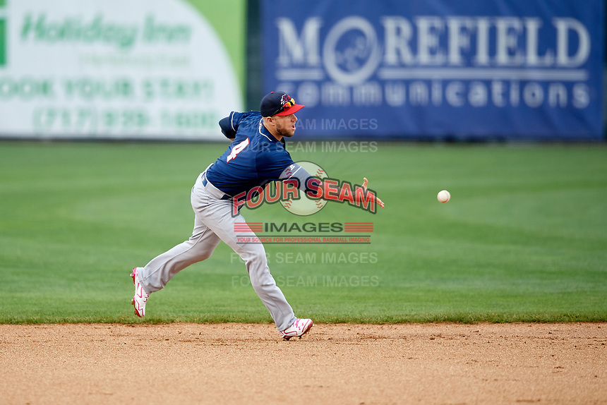 New Hampshire Fisher Cats shortstop Gunnar Heidt (4) flips the ball to second base during the second game of a doubleheader against the Harrisburg Senators on May 13, 2018 at FNB Field in Harrisburg, Pennsylvania.  Harrisburg defeated New Hampshire 2-1.  (Mike Janes/Four Seam Images)