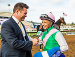 DEL MAR, CA - AUGUST 19:  Mike Joyce of TVG interviews Mike Smith after Arrogate's run in the TVG Pacific Classic at Del Mar Thoroughbred Club, on August 19, 2017 in Del Mar, California. (Photo by Alex Evers/Eclipse Sportswire/Getty Images)