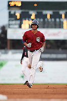 Mahoning Valley Scrappers right fielder Will Benson (7) runs the bases after hitting a home run during a game against the Batavia Muckdogs on August 18, 2017 at Dwyer Stadium in Batavia, New York.  Mahoning Valley defeated Batavia 8-2.  (Mike Janes/Four Seam Images)