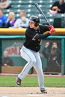 Joc Pederson (3) of the Albuquerque Isotopes at bat against the Salt Lake Bees at Smith's Ballpark on April 21, 2014 in Salt Lake City, Utah.  (Stephen Smith/Four Seam Images)