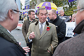 Nigel Farage, MEP.  UKIP lobby of Parliament against the handover of legal powers, including the European Arrest Warrant, to the EU.  Old Palace Yard, Westminster, London.