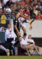 Gabriel Obertan (26) of Manchester United goes up for a header against Jordan Harvey (2) of Philadelphia Union during a friendly match at Lincoln Financial Field in Philadelphia, Pennsylvania.  Manchester United defeated Philadelphia Union, 1-0.
