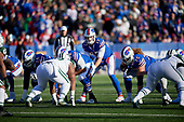 Buffalo Bills quarterback Josh Allen (17) under center during an NFL football game against the New York Jets, Sunday, December 9, 2018, in Orchard Park, N.Y.  (Mike Janes Photography)