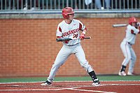 Carson Shaddy (20) of the Arkansas Razorbacks squares to bunt against the Charlotte 49ers at Hayes Stadium on March 21, 2018 in Charlotte, North Carolina.  The 49ers defeated the Razorbacks 6-3.  (Brian Westerholt/Four Seam Images)