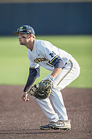 Michigan Wolverines first baseman Jake Bivens (18) on defense during the NCAA baseball game against the Eastern Michigan Eagles on May 16, 2017 at Ray Fisher Stadium in Ann Arbor, Michigan. Michigan defeated Eastern Michigan 12-4. (Andrew Woolley/Four Seam Images)