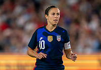 ORLANDO, FL - MARCH 05: Carli Lloyd #10 of the United States watches for the ball during a game between England and USWNT at Exploria Stadium on March 05, 2020 in Orlando, Florida.