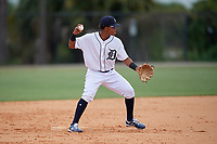 Detroit Tigers second baseman Wenceel Perez (80) during an Instructional League instrasquad game on September 20, 2019 at Tigertown in Lakeland, Florida.  (Mike Janes/Four Seam Images)