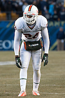 Miami defensive back Rayshawn Jenkins. The Miami Hurricanes defeated the Pitt Panthers 41-31 at Heinz Field, Pittsburgh, Pennsylvania on November 29, 2013.