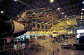 Sao Paulo, Brazil. New ERJ series aircraft under construction in hangar at Embraer factory.