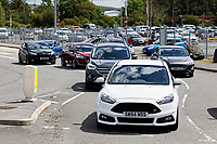 Pictured: Workers, mostly driving Ford cars leave the Ford engine plant in Bridgend, Wales, UK. Thursday 06 June 2019<br /> Re: An announcement on the proposed closure of Ford's Bridgend plant will be made today (Thursday).<br /> Ford Europe and bosses from the United States will meet union leaders at its Essex headquarters.<br /> The plant employs 1,700 workers from across south Wales.