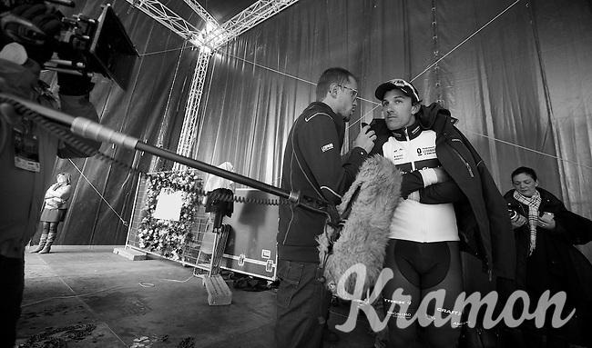 E3 Prijs Harelbeke.winner Fabian Cancellara (CHE) is interviewed backstage (on the podium) by RSLT press officer Tim Vanderjeugd