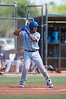 AZL Royals catcher Stephan Vidal (13) at bat during an Arizona League game against the AZL Padres 1 at Peoria Sports Complex on July 4, 2018 in Peoria, Arizona. The AZL Royals defeated the AZL Padres 1 5-4. (Zachary Lucy/Four Seam Images)