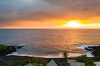 Sunset at Pebbles Beach on the Big Island of Hawai'i.