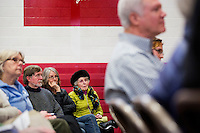 People listen as Shenna Bellows, Democratic candidate in Maine for US Senate, speaks to the Brunswick Democratic Town Committee town caucus in Brunswick, Maine, USA, on March 3, 2014. Bellows is trying to unseat incumbent Maine Republican Senator Susan Collins in the 2014 election. The town caucus had speeches from various other local candidates and also served to choose delegates for the 2014 Maine State Democratic Caucus.