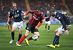 Dundee v St Johnstone....08.11.14   SPFL<br /> Brian Graham takes on James McPake<br /> Picture by Graeme Hart.<br /> Copyright Perthshire Picture Agency<br /> Tel: 01738 623350  Mobile: 07990 594431